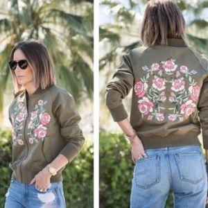 Anine Bing. Rose floral military bomber jacket